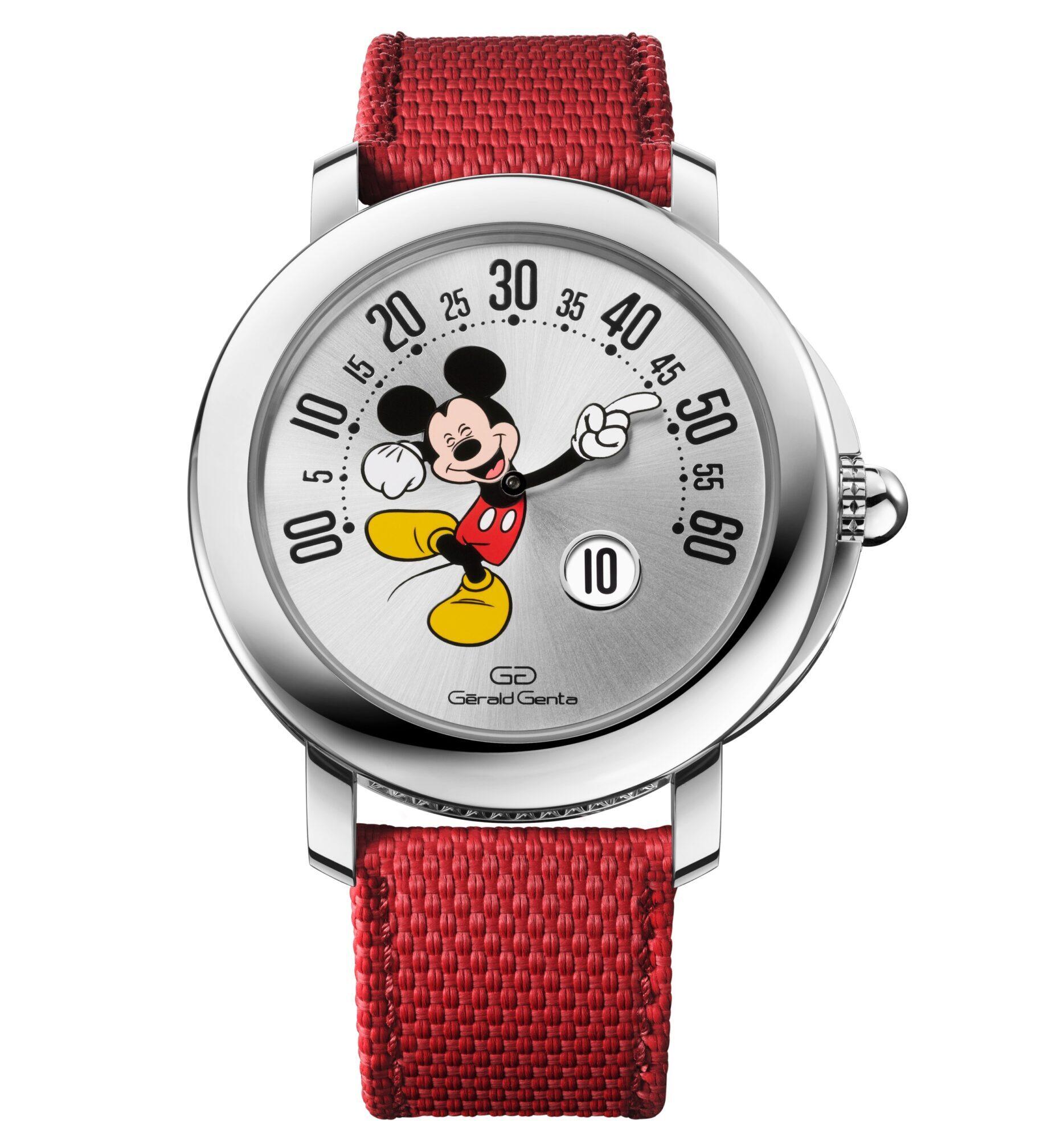 Gerald Genta Arena Retrograde with smiling Disney Mickey Mouse.
