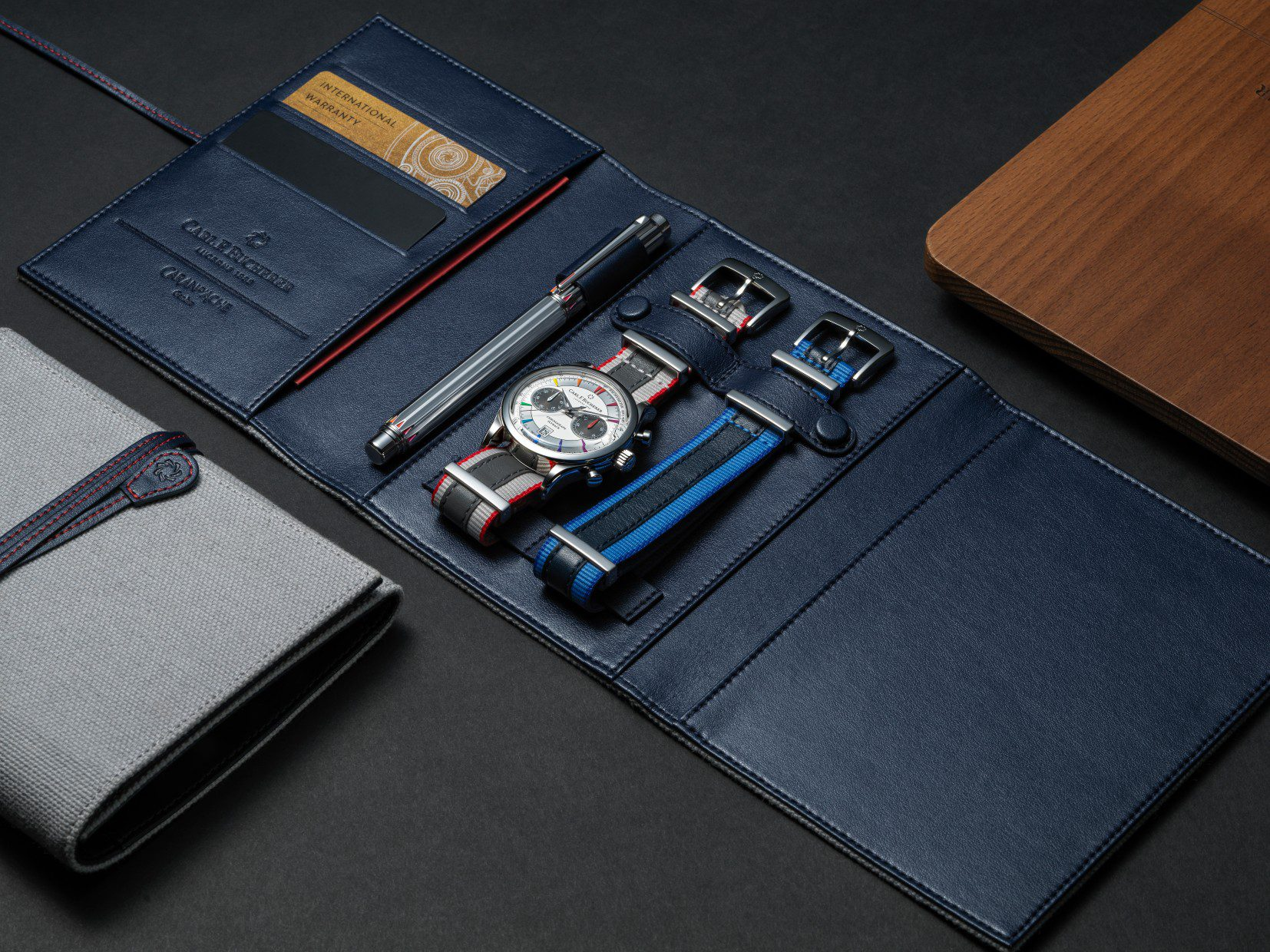 Carl F. Bucherer Manero Flyback Signature watch and the Caran d'Ache Signature rollerball pen packaging